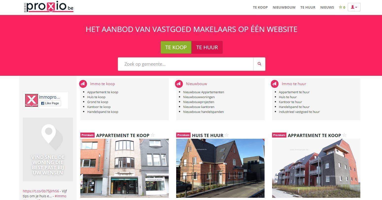 Gloednieuwe, responsive website voor immoproxio.be